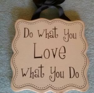 MDF Wood painted sign, love is